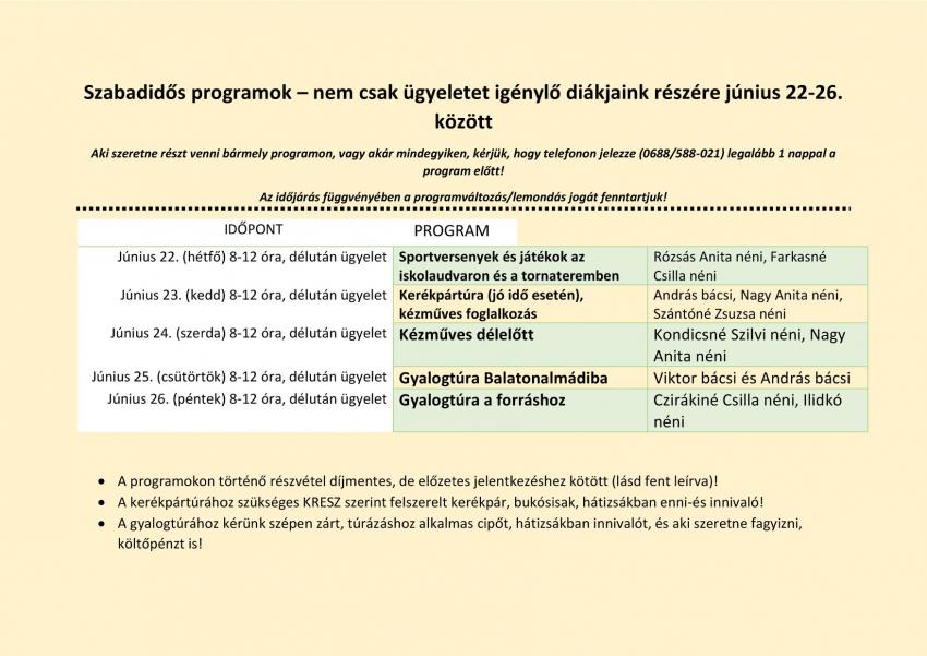 Litéri Református Általános Iskola - Szabadidős programok!