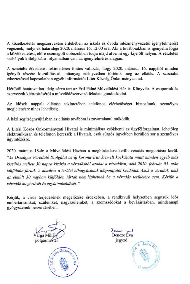 A Litéri Operatív Törzs tájékoztatása!