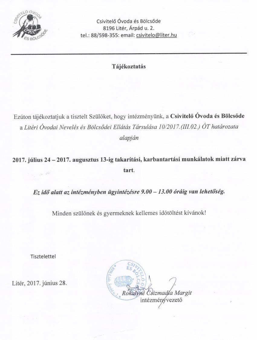 Tájékoztató óvodai zárva tartásról