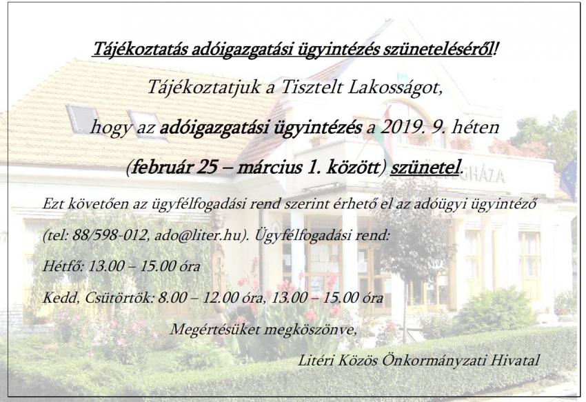 Tájékoztatás adóügyi ügyintézés szüneteléséről - 2019. 9. hét