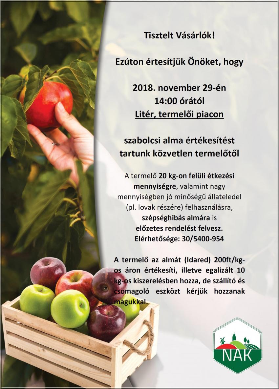 Szabolcsi alma értékesítés a litéri termelői piacon!
