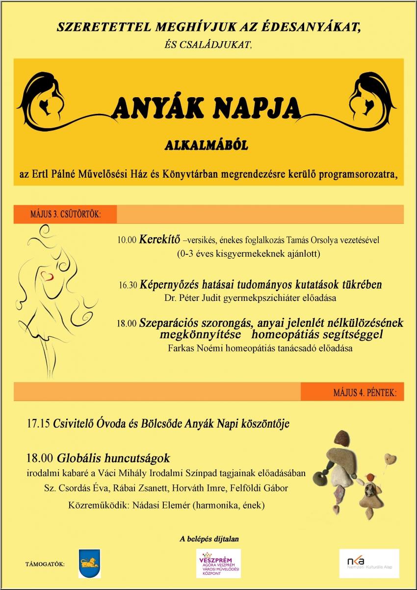 Anyák Napi programok az Ertl Pálné Művelődési Ház és Könyvtárban