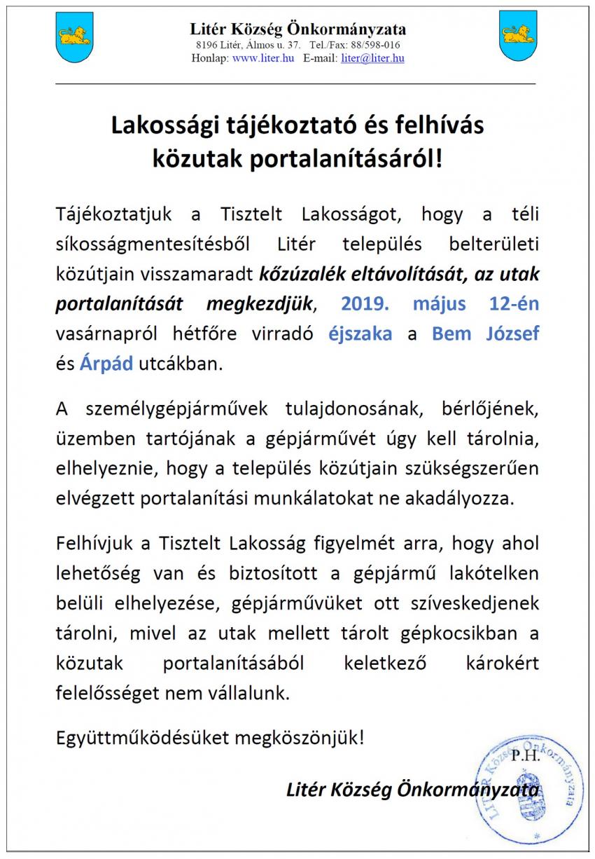 Lakossági tájékoztató és felhívás közutak portalanításáról - Árpád és Bem J. utca