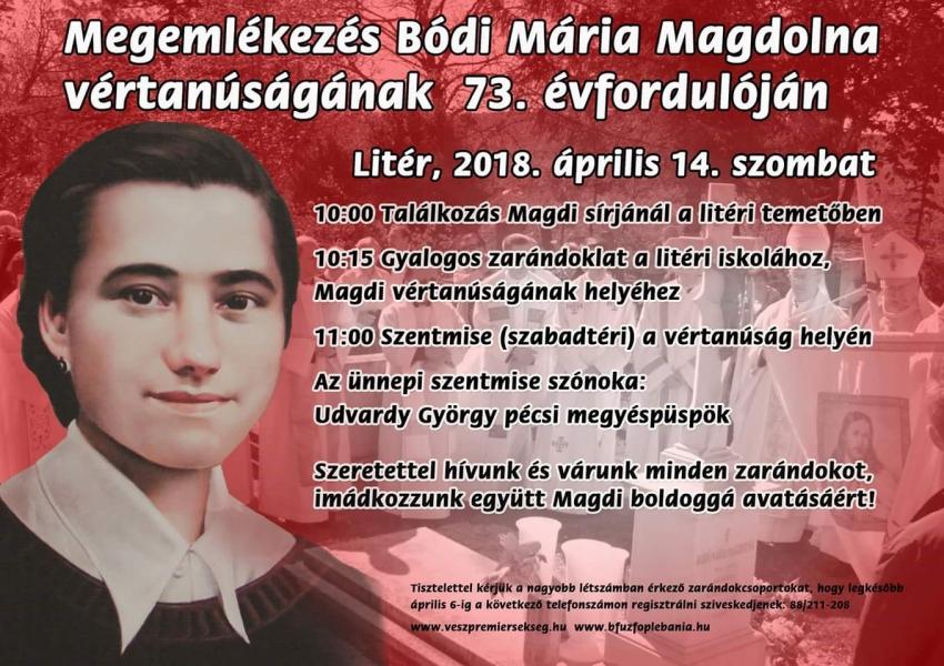 Megemlékezés Bódi Mária Magdolna vértanúságának 73. évfordulóján