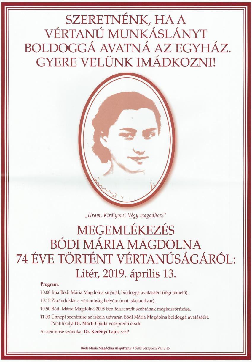 Megemlékezés Bódi Mária Magdolna 74 éve történt vértanúságáról!