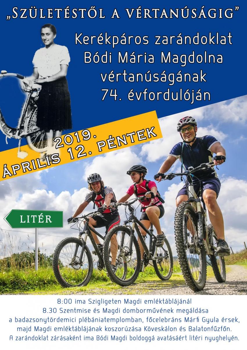 Kerékpáros zarándoklat Bódi Mária Magdolna vértanúságának 74. évfordulóján!