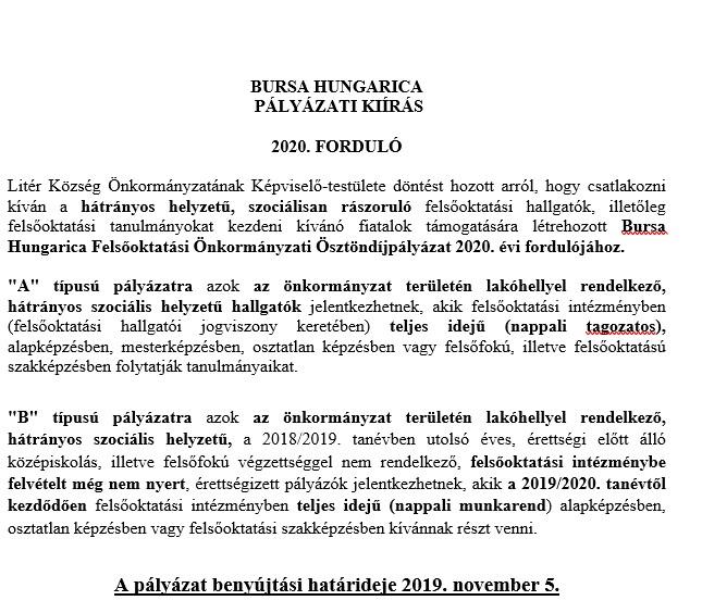 Bursa Hungarica pályázati kiírás!