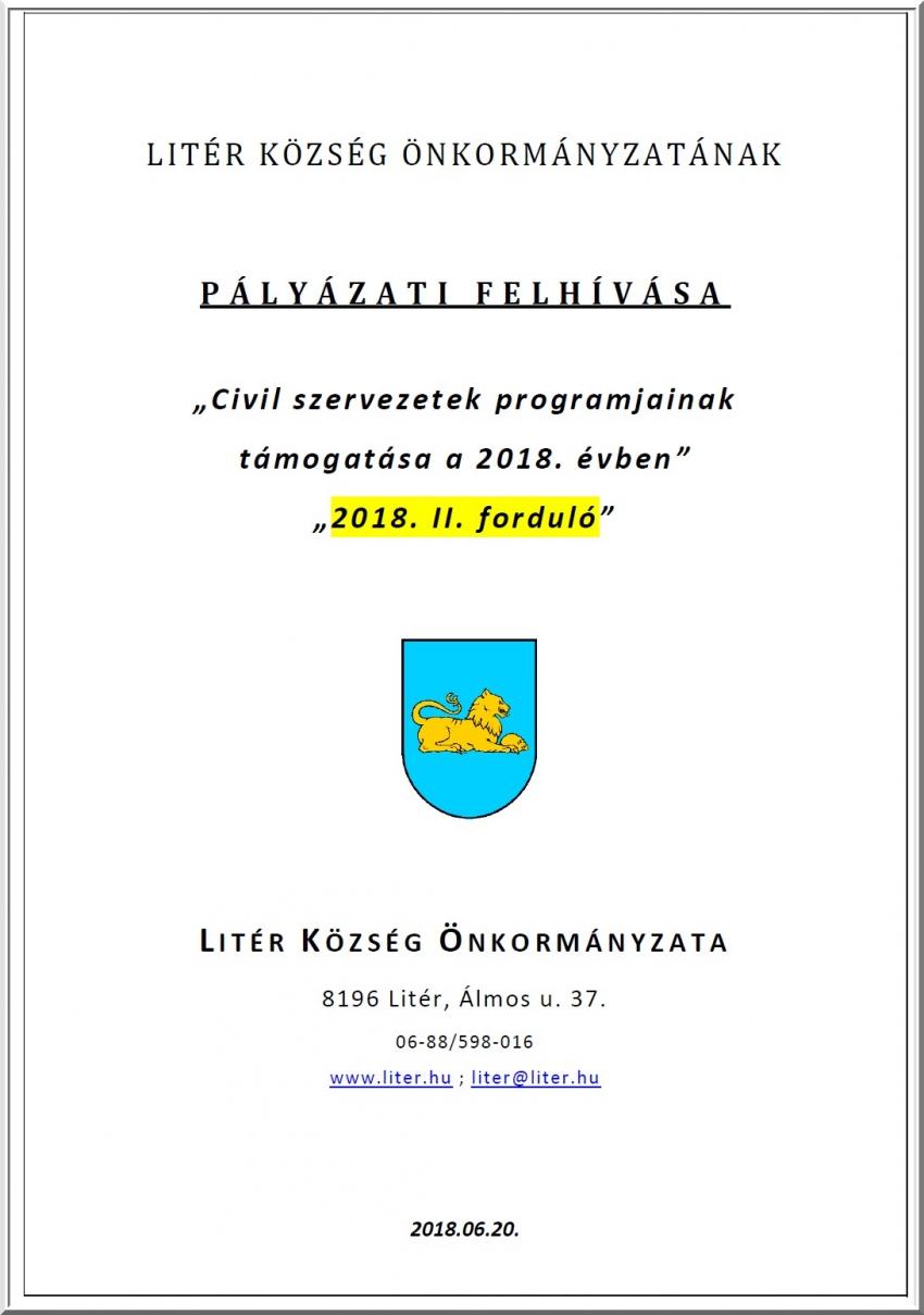 Civil szervezetek programjainak támogatása 2018. II. forduló