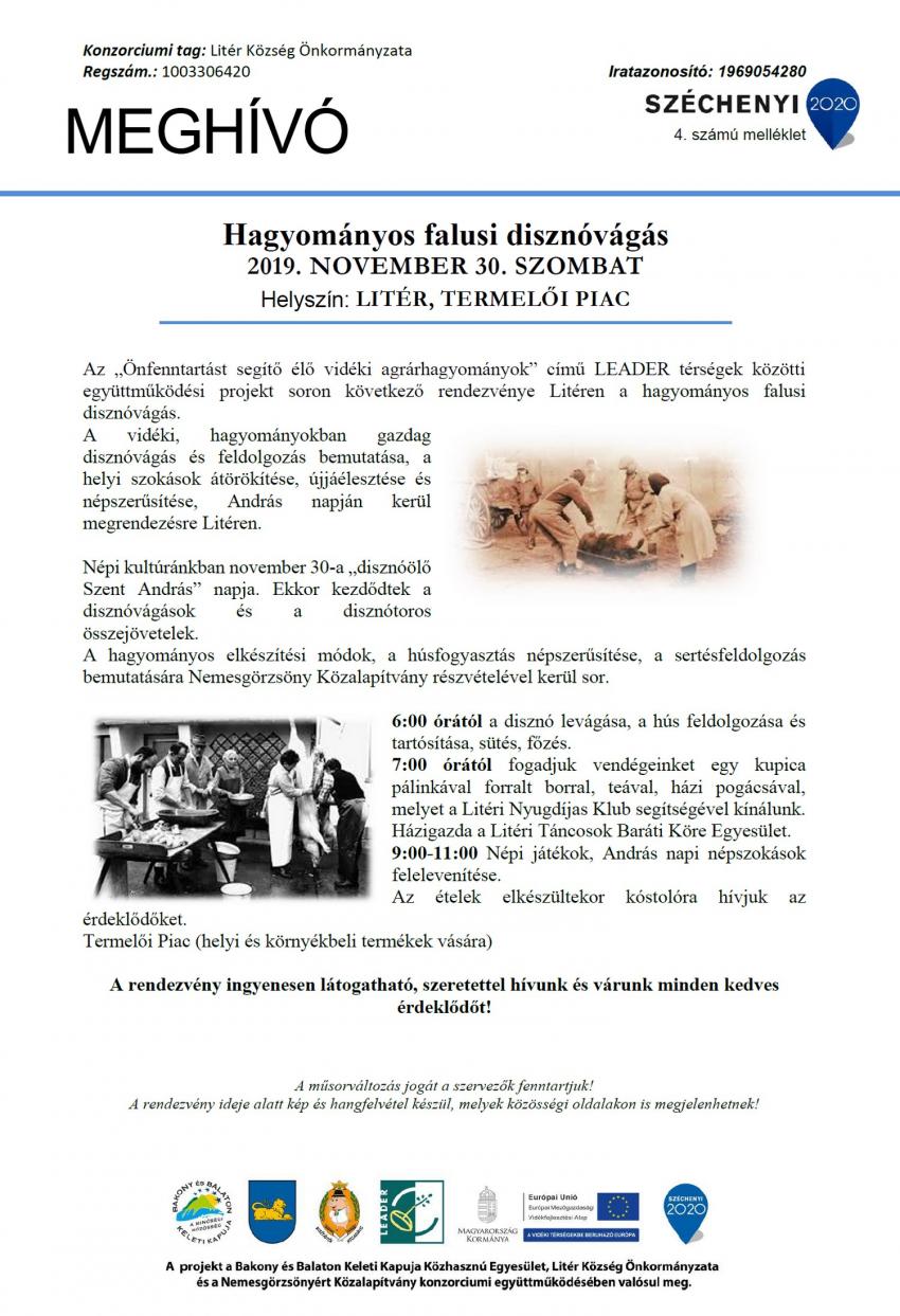 Falusi disznóvágás Litéren 2019.11.30.