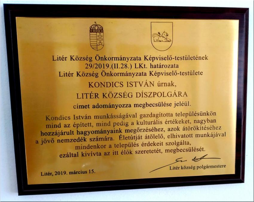 Kondics István - Litér Község Díszpolgára