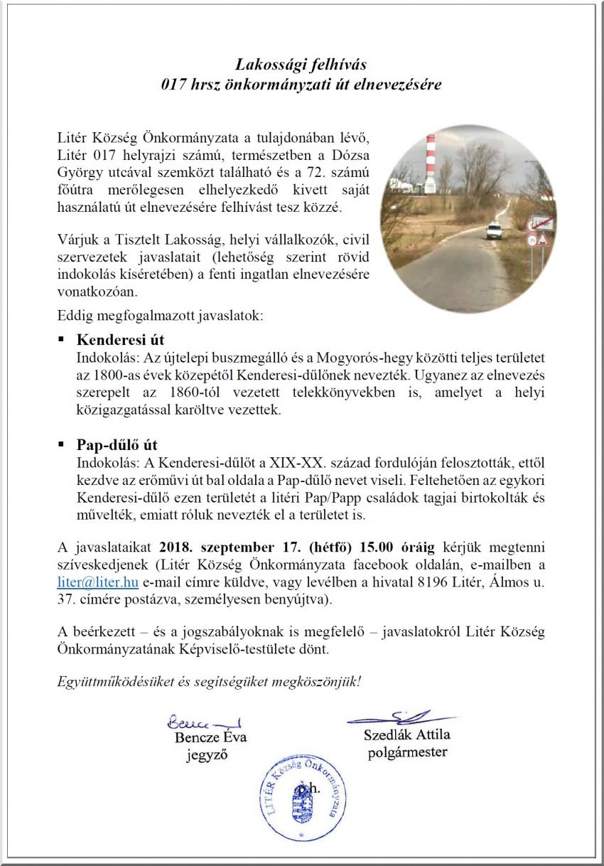 Lakossági felhívás 017 hrsz önkormányzati út elnevezésére