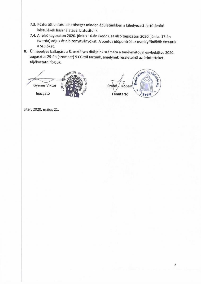 Közlemény - Litéri Református Általános Iskola