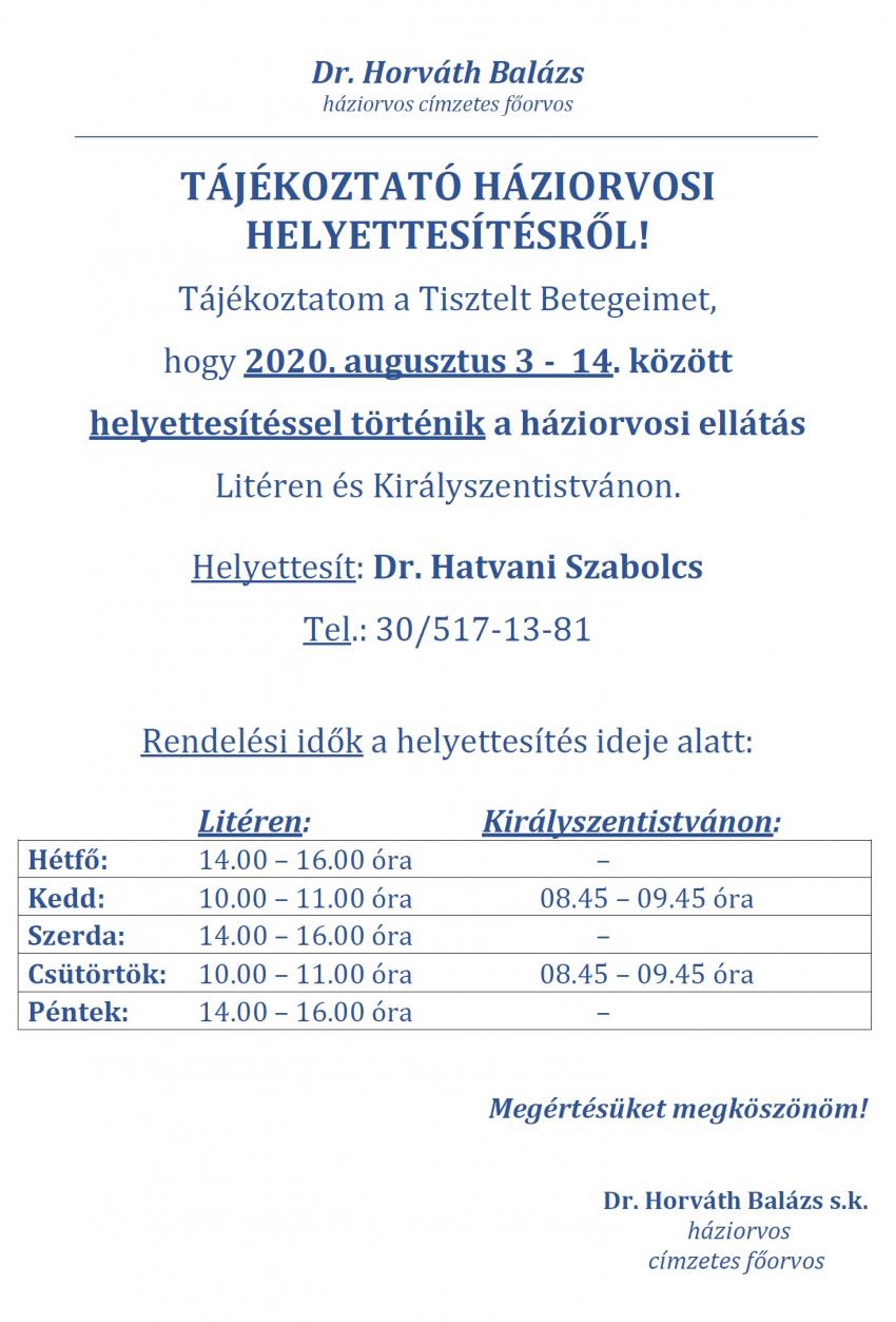 Háziorvosi helyettesítés - 2020. aug. 3-14.