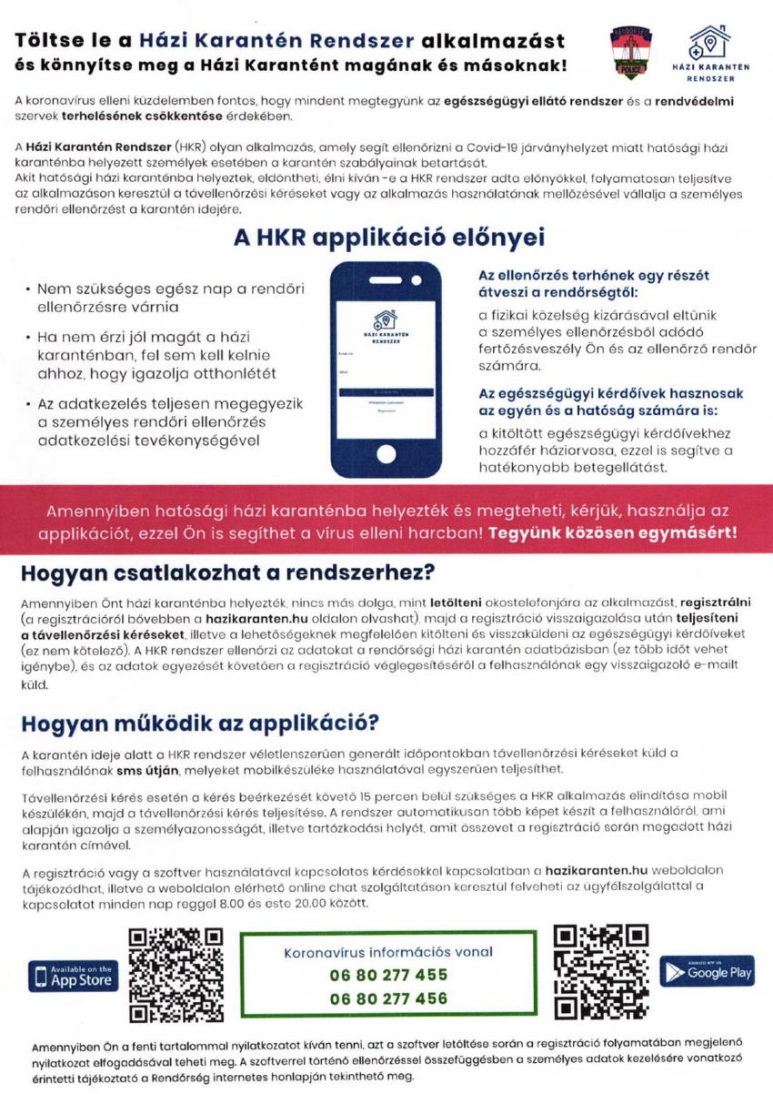 Házi Karantén Rendszer alkalmazás!