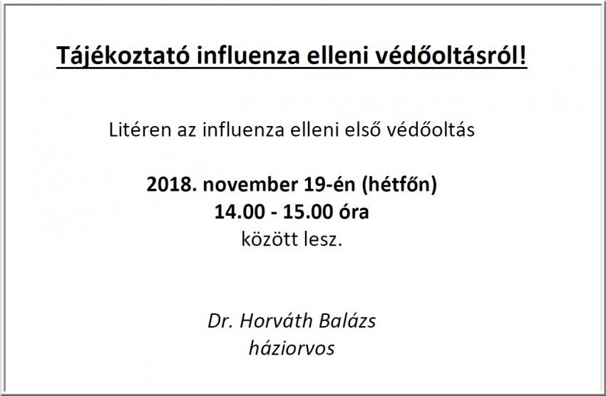 Influenza elleni első védőoltás!