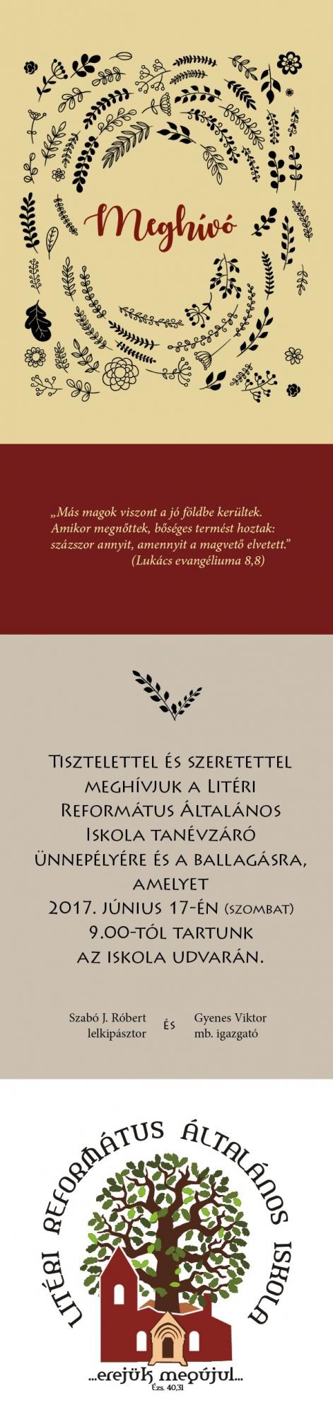 Meghívó - Litéri Református Általános Iskola ballagás
