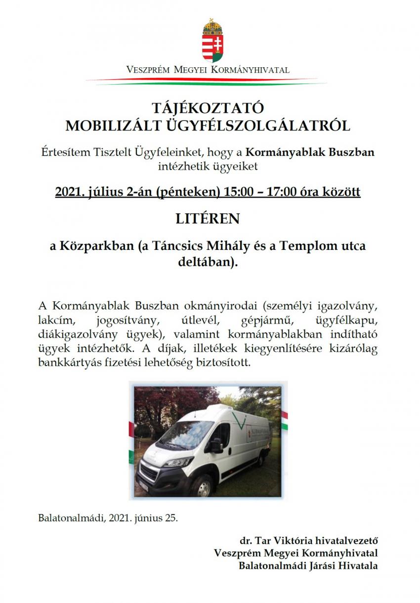 Tájékoztató mobilizált ügyfélszolgálatról - 2021.07.02.