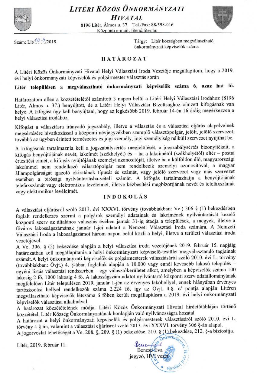Litér községben megválasztható önkormányzati képviselők száma