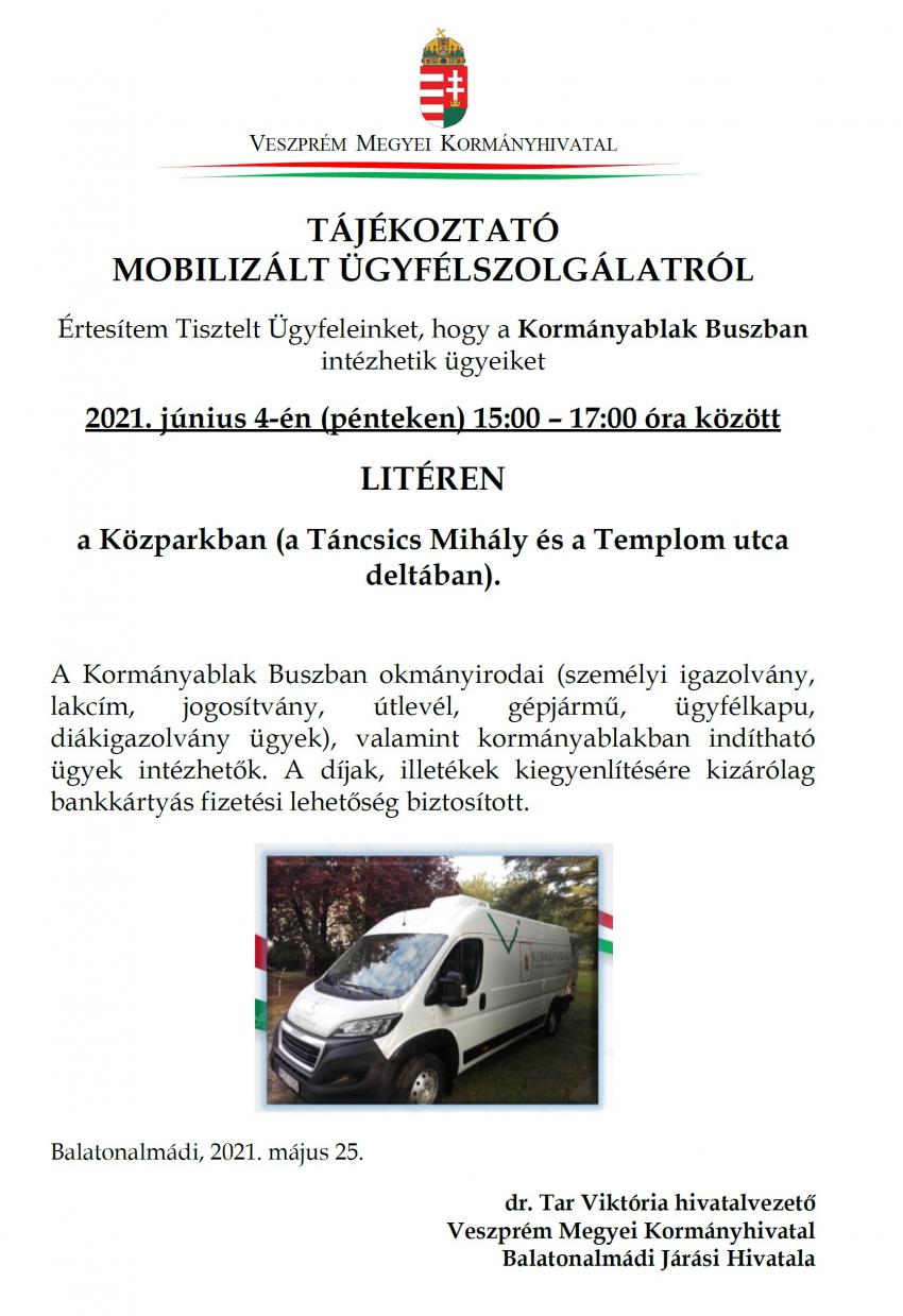 Tájékoztató mobilizált ügyfélszolgálatról!