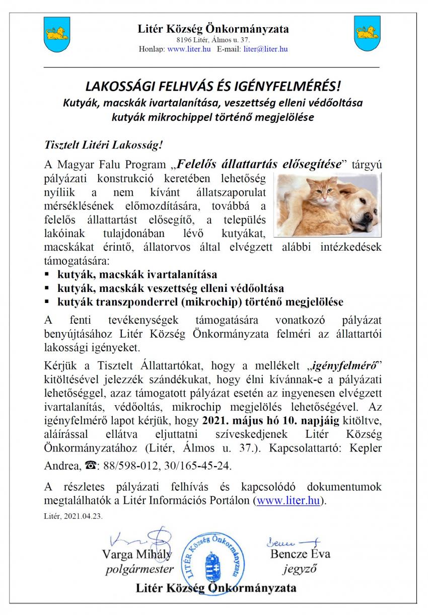 Lakossági felhívás és igényfelmérés - Felelős állattartás elősegítése!