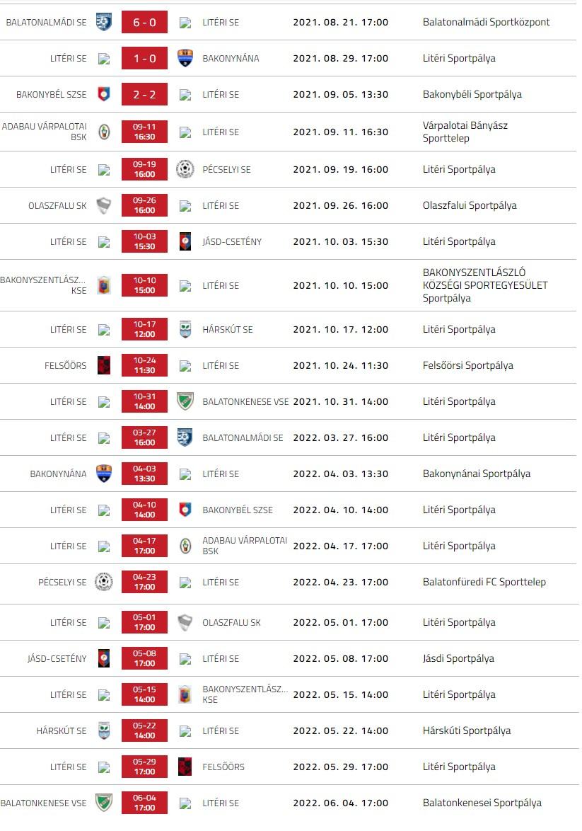 Litéri SE mérkőzések - 2021/22.