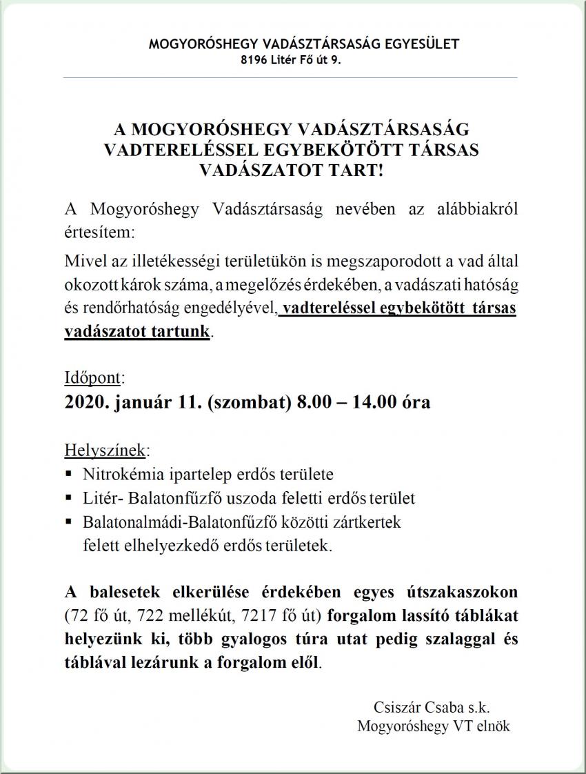 Vadtereléssel egybekötött társas vadászat - 2020.01.11.