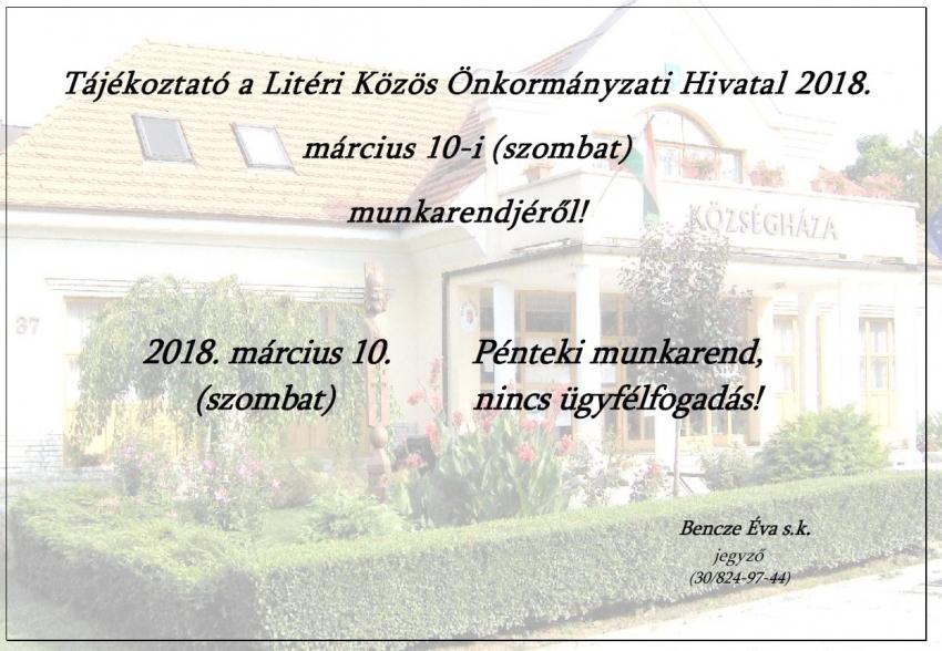 Munkarend - 2018.03.10. (szombat)