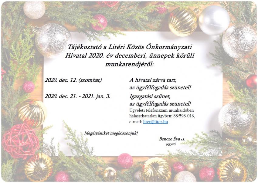A Litéri Közös Önkormányzati Hivatal decemberi munkarendje!