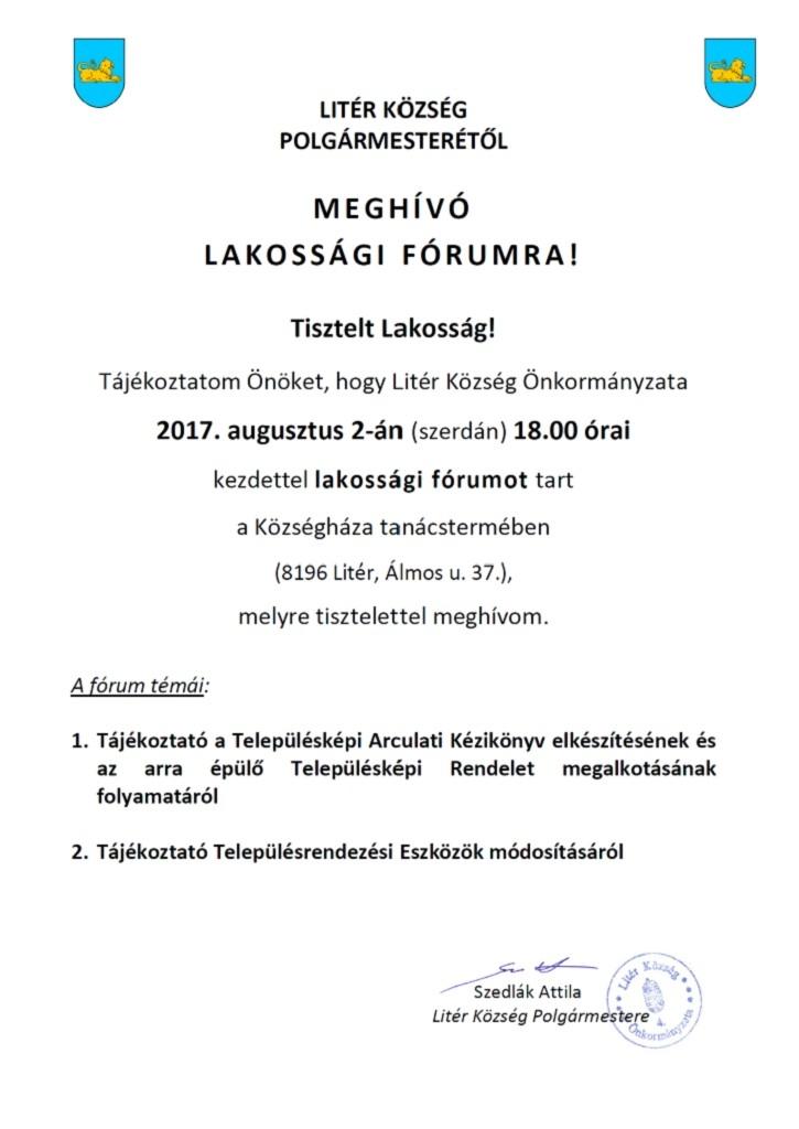 Meghívó lakossági fórumra