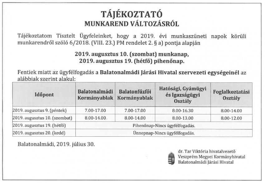 Tájékoztató munkarend változásról - Balatonalmádi Járási Hivatal