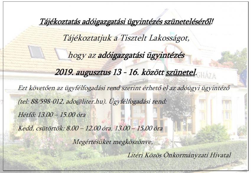 Tájékoztató adóügyi ügyintézés szüneteléséről - Aug 13-16.