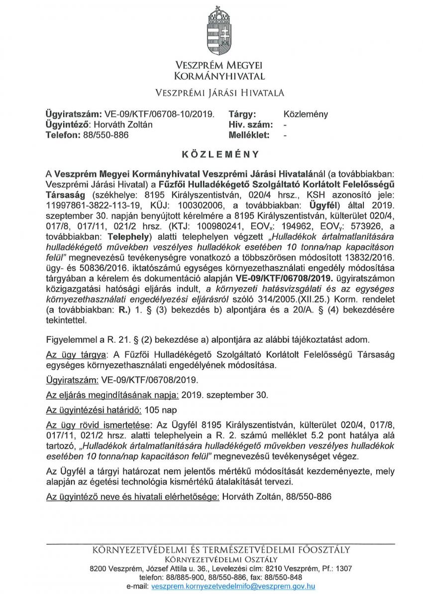 KÖZLEMÉNY - Fűzfői Hulladékégető Szolgáltató Kft. egységes környezethasználati engedéyének módosítása