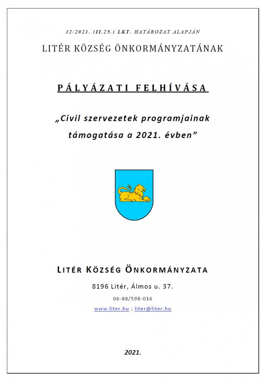 """""""Civil szervezetek programjainak támogatása a 2021. évben"""""""