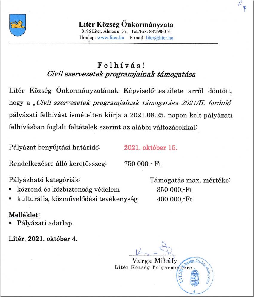 Civil szervezetek programjainak támogatása!