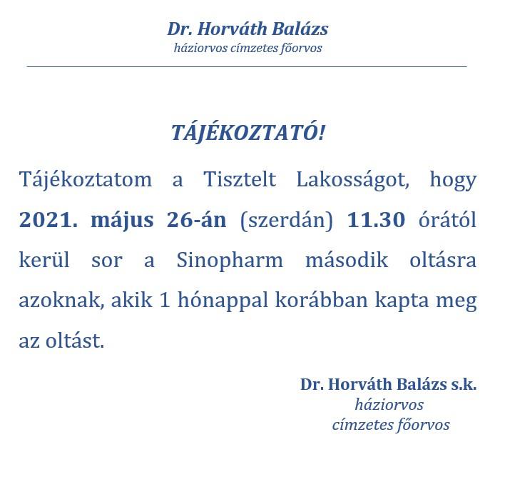 Háziorvosi tájékoztató - 2021.05.26. oltás