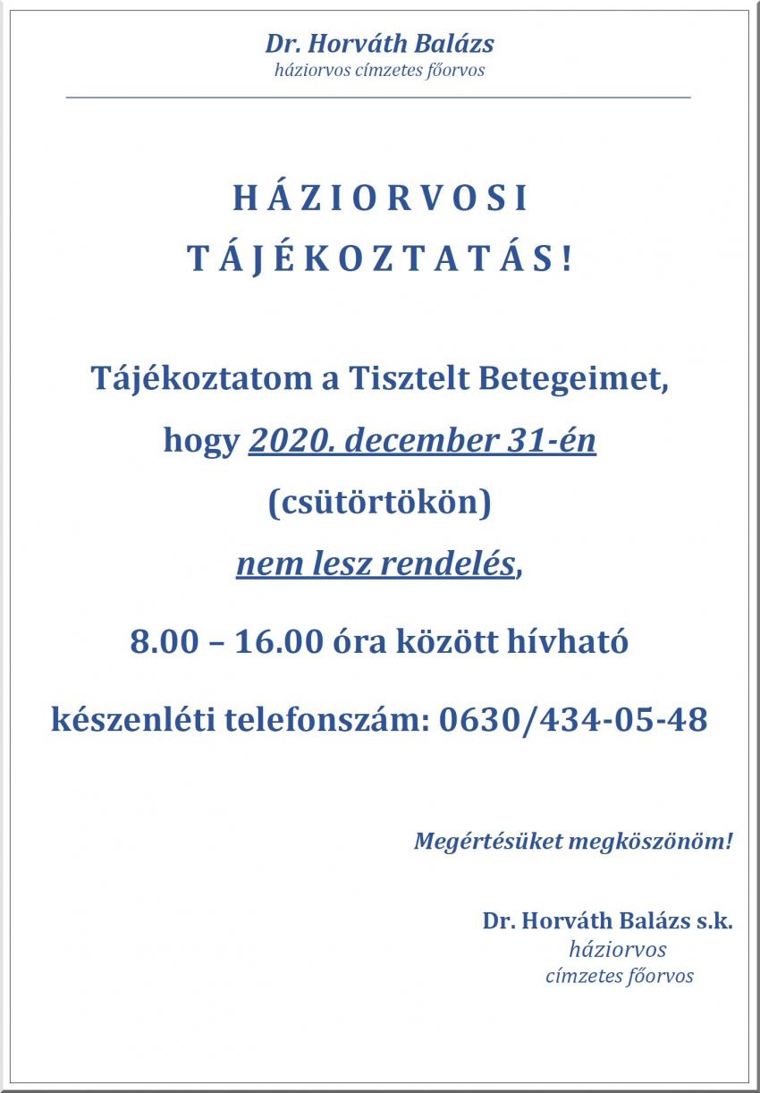 Háziorvosi tájékoztatás - 2020. dec 31.