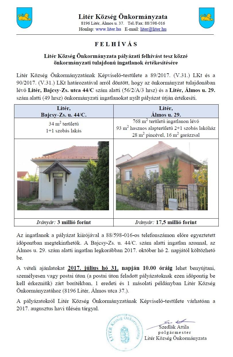 Pályázati felhívás önkormányzati ingatlanok értékesítésére!