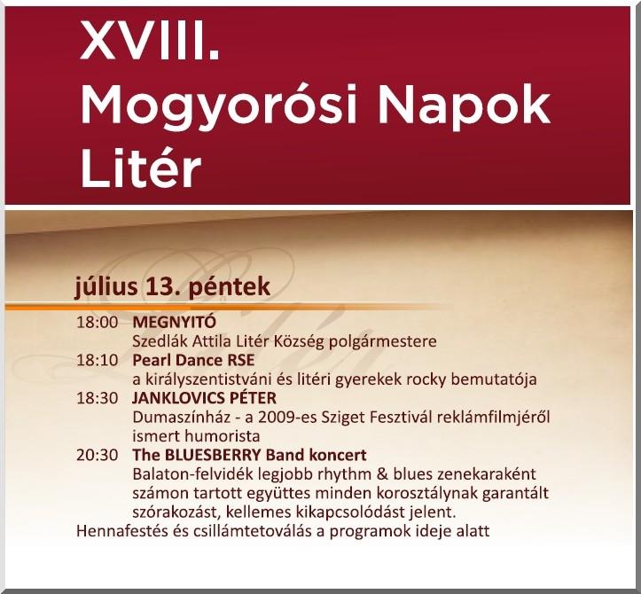 XVIII. Mogyorósi Napok - pénteki programok