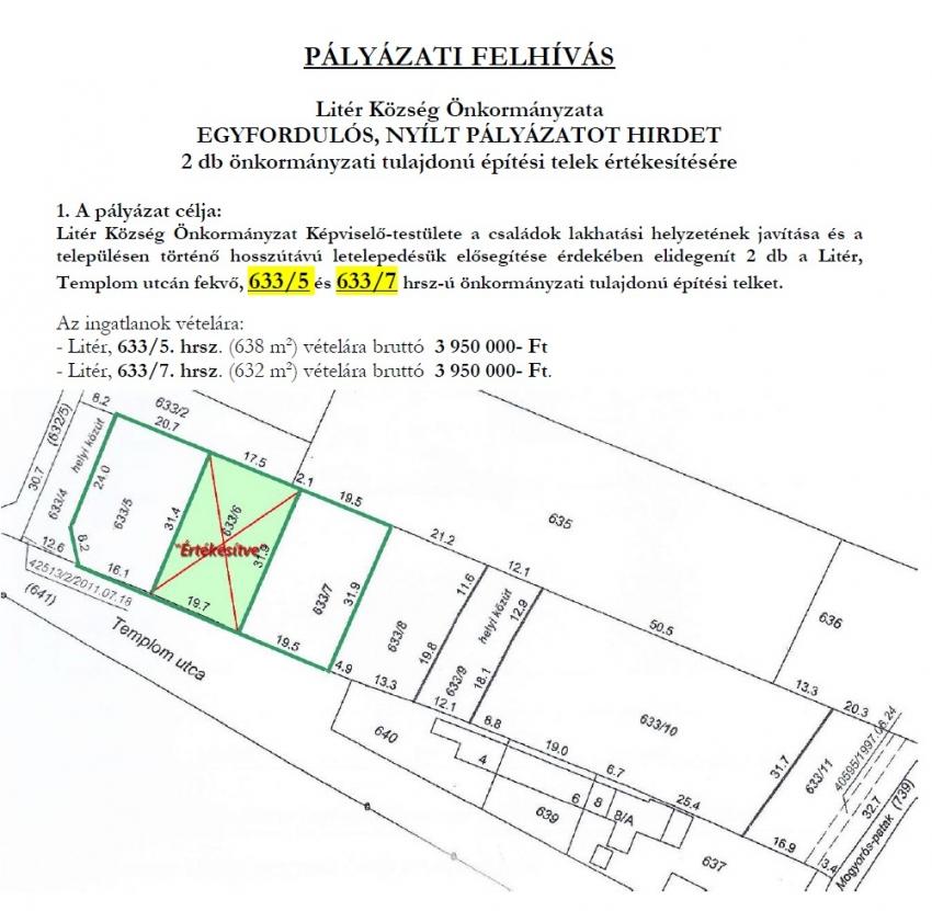 Pályázati felhívás Templom utcai építési telkek értékesítésére