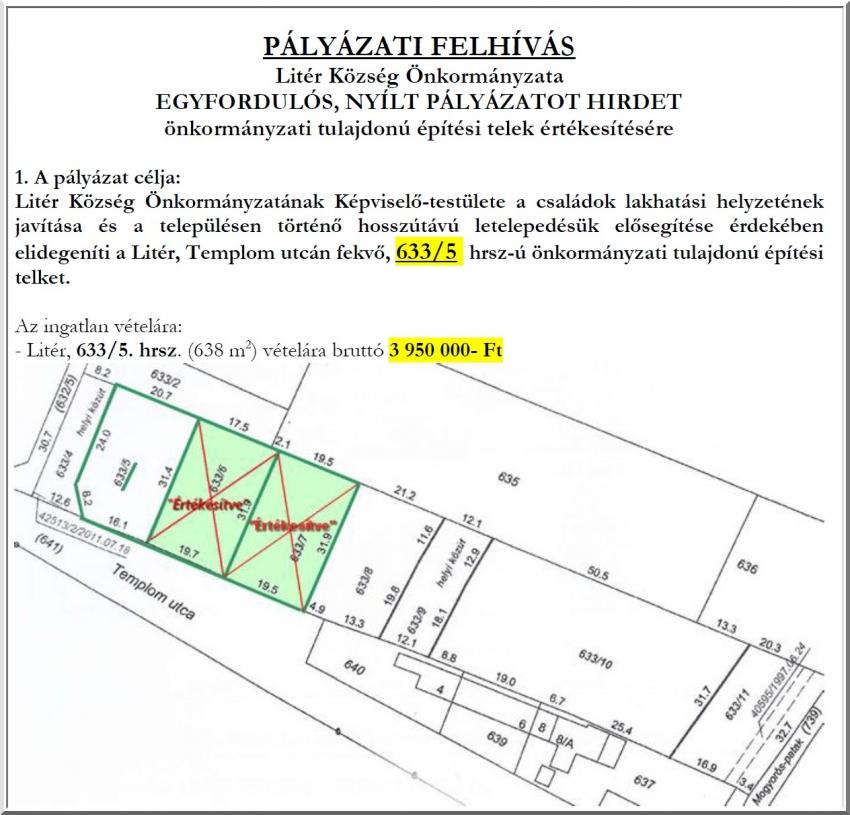 Pályázati felhívás 633/5 hrsz. építési telek értékesítésére