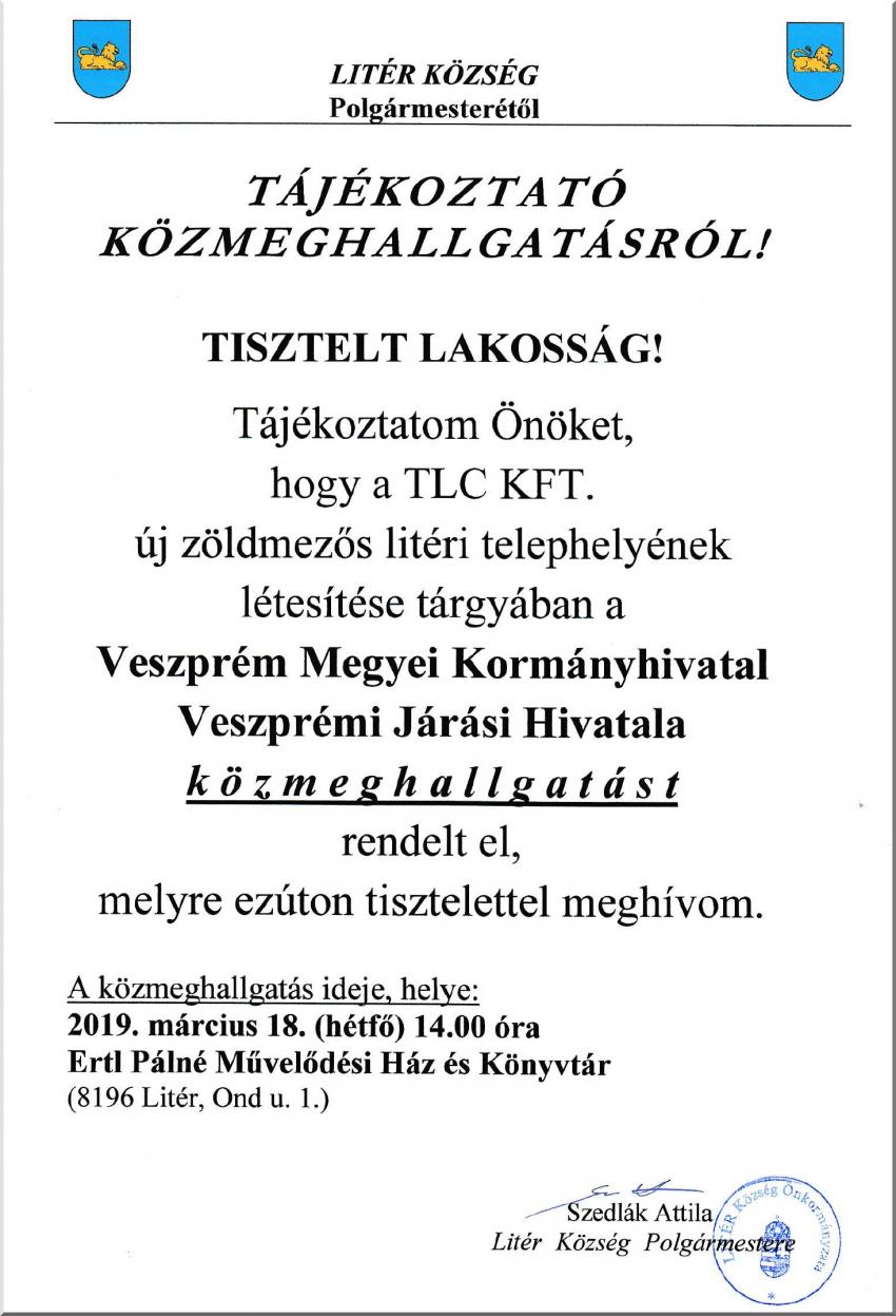 Tájékoztató közmeghallgatásról - 2019.03.18. 14.00 óra