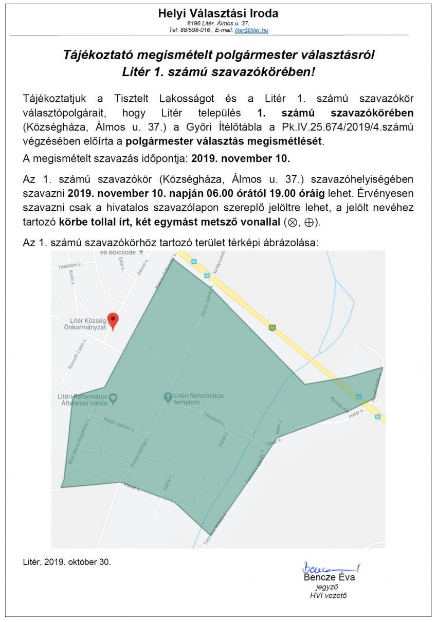 Polgármester választás 2019. november 10-én Litér 1. sz. szavazókörében!