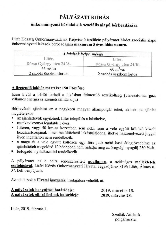 Pályázati kiírás önkormányzati bérlakások szociális alapú bérbeadására!