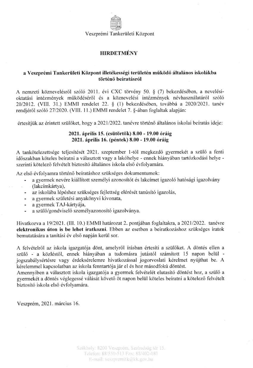 Hirdetmény a Veszprémi Tankerületi Központ illetékességi területén működő általános iskolákba történő beíratásról