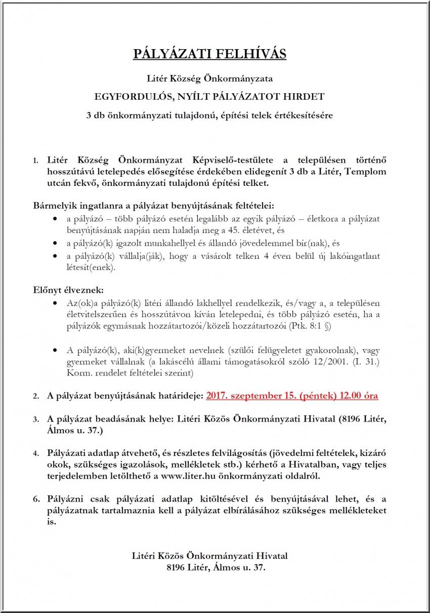 Pályázati felhívás 3 db önkormányzati építési telek értékesítésére