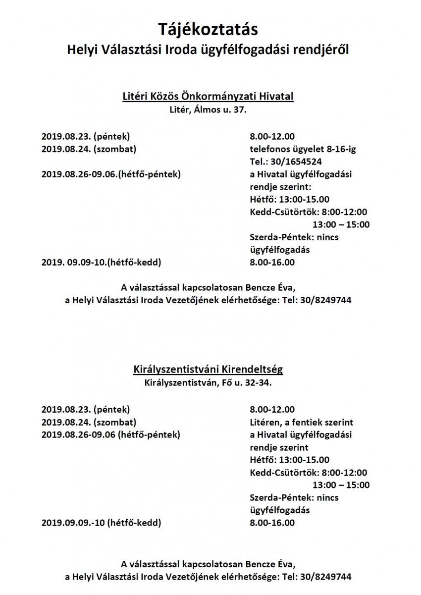 Tájékoztatás Helyi Választási Iroda ügyfélfogadási rendjéről!