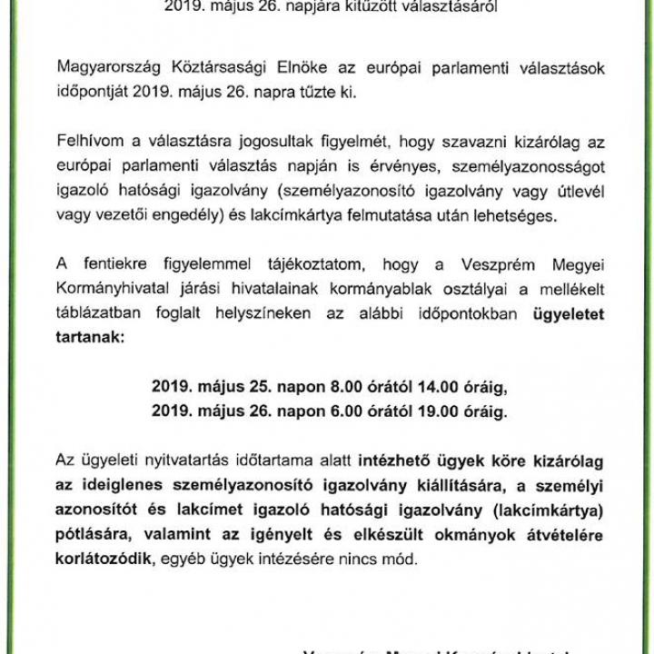 Közlemény Kormányablakok ügyeletéről!