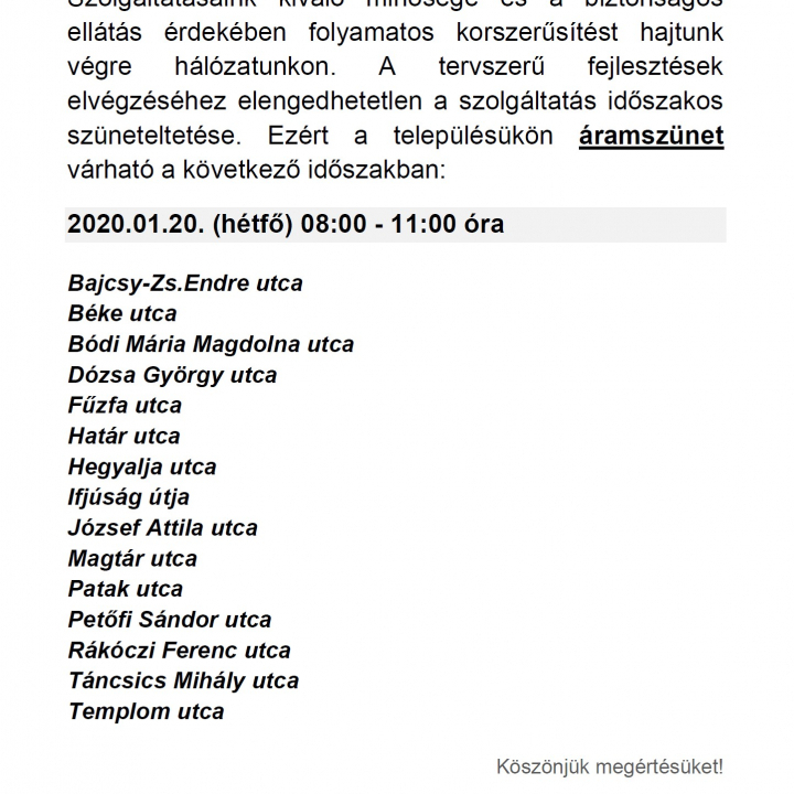 Áramszünet Litéren - 2020.01.20.
