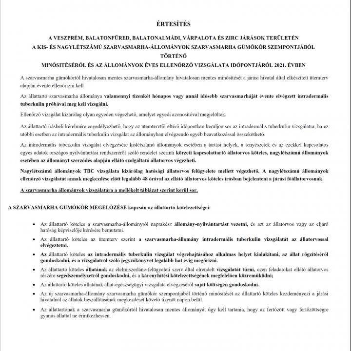 Értesítés - Szarvasmarha állományok gümőkór szempontjából történő minősítéséről és az állományok vizsgálatáról