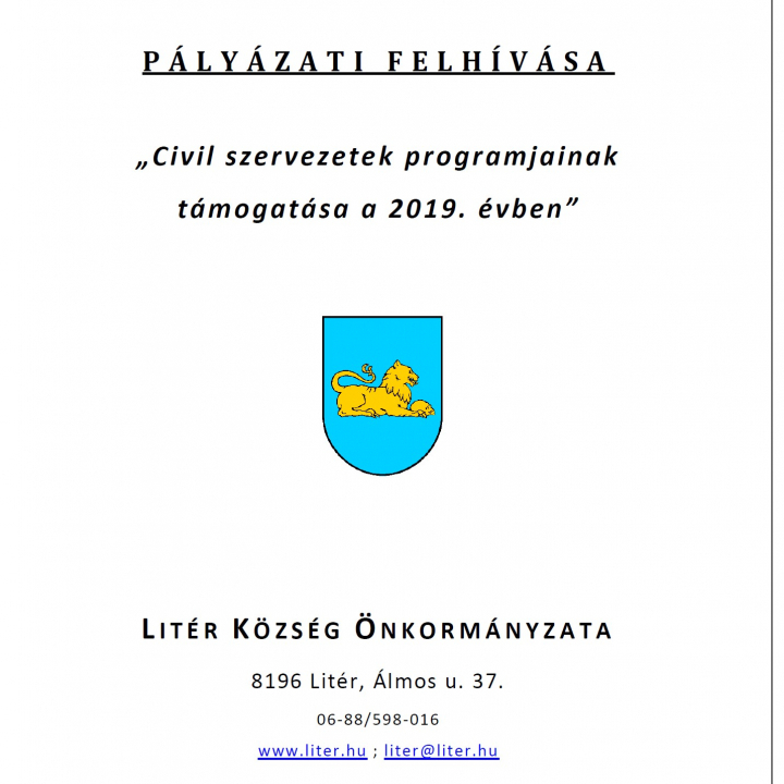 Pályázati Felhívás - Civil szervezetek programjainak támogatása!
